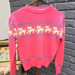 Distressed vintage cat sweater